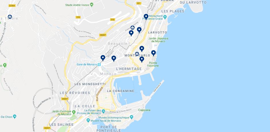 Mapa da melhor região para se hospedar em Mônaco