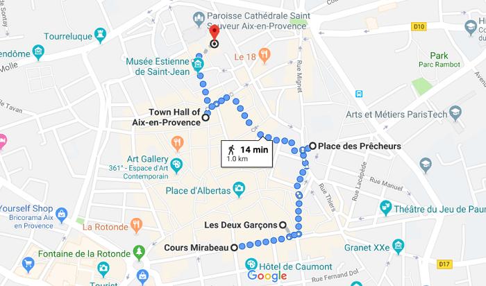 Mapa de roteiro de um dia em Aix
