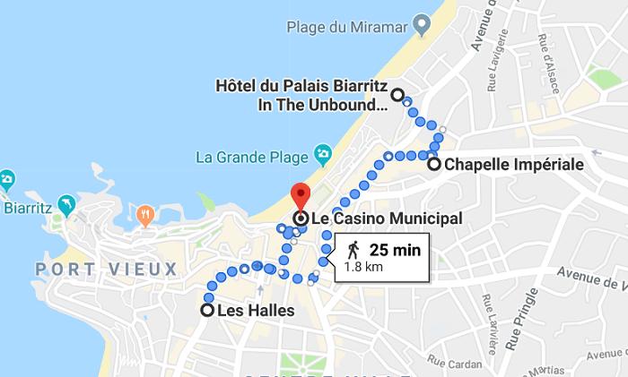 Mapa do terceiro dia em Biarritz