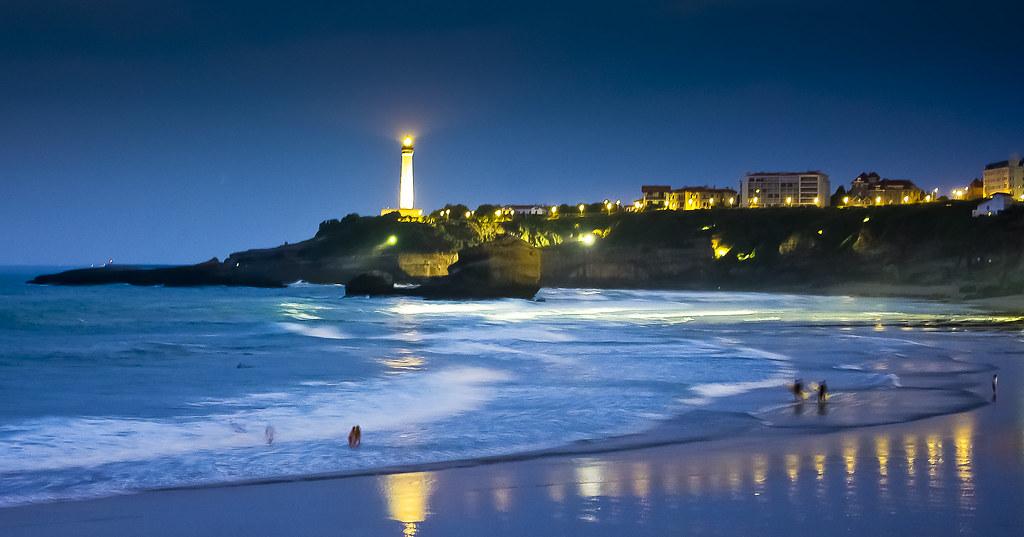 Mar de Biarritz à noite