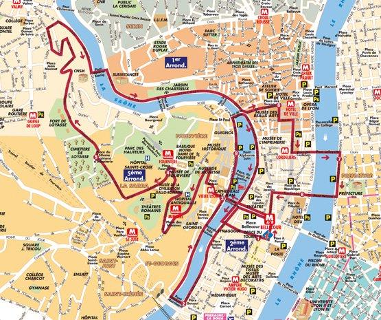 Mapa do ônibus turístico em Lyon