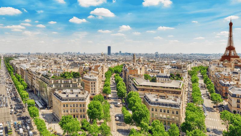 Região da Avenida Champs-Élysées em Paris