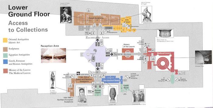 Coleções do Museu do Louvre em Paris - lower gound floor