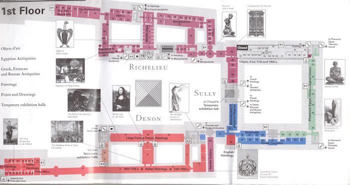 Mapa do 1 floor do Museu do Louvre em Paris