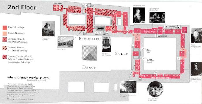 Mapa do 2 floor do Museu do Louvre em Paris