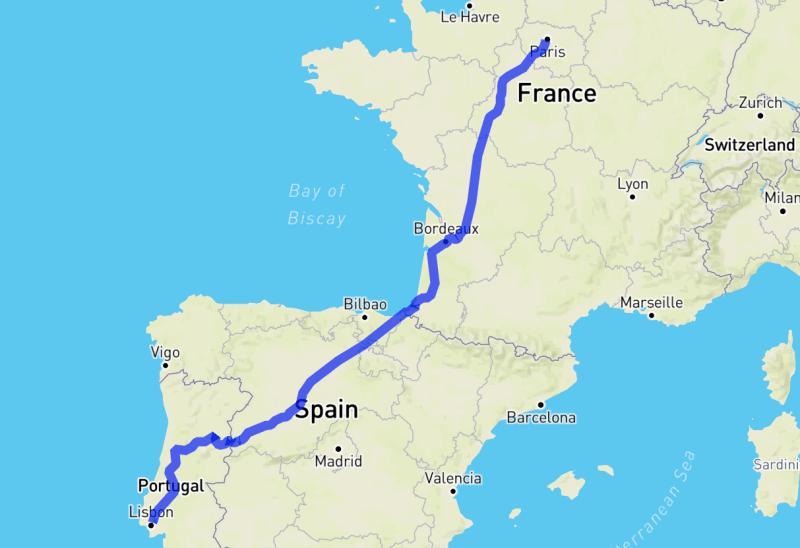 Mapa do trajeto de carro de Paris a Lisboa