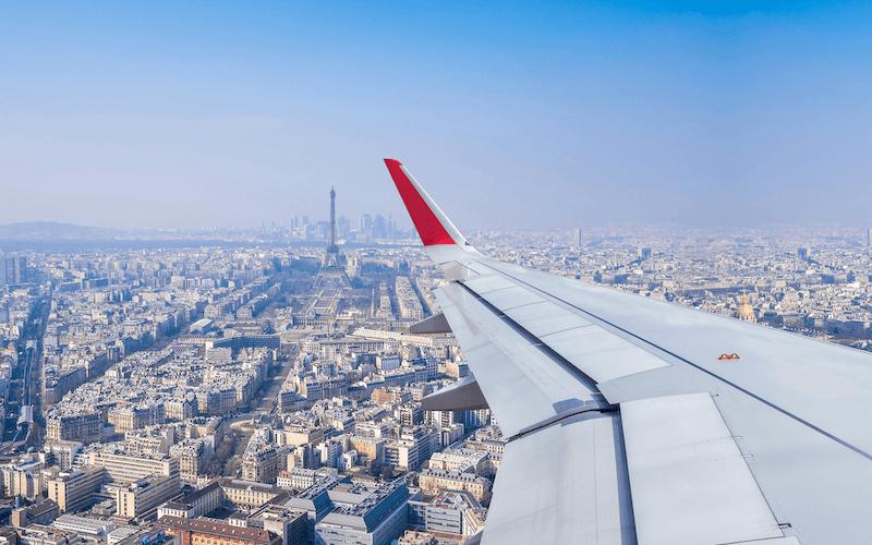 Vista do avião na França