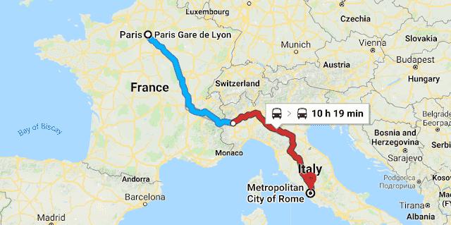 Mapa viagem de trem Paris a Roma