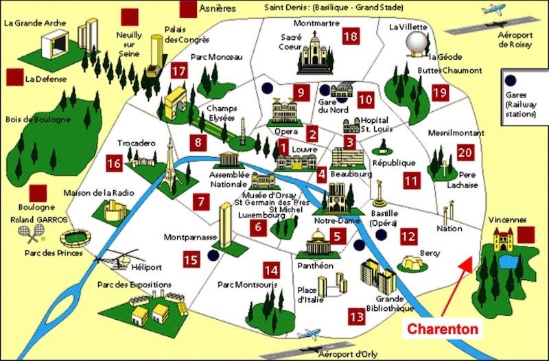 Mapa turístico de Paris