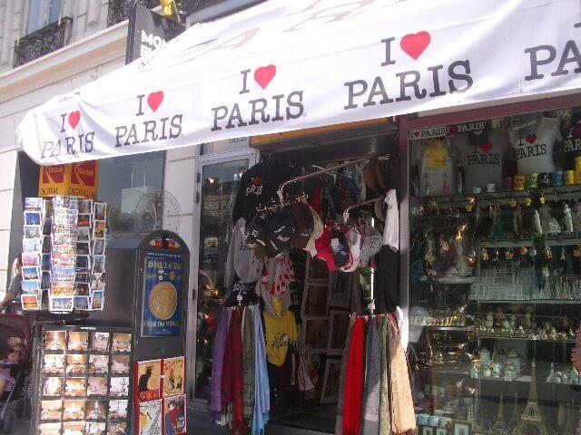 Loja de lembrancinhas em Paris