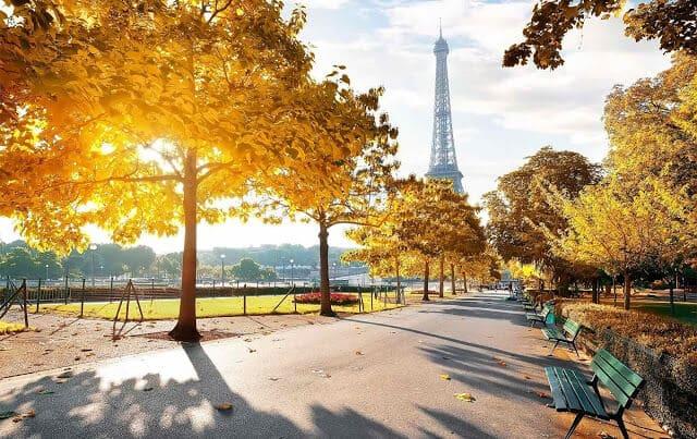 Jardins em Paris em setembro