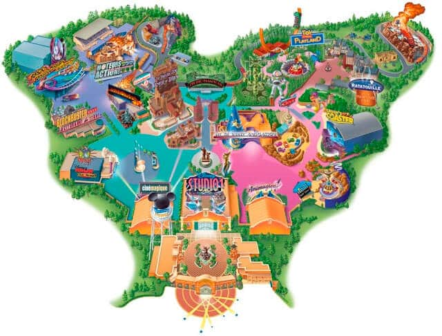 Mapa do Parque Walt Disney Studios em Paris