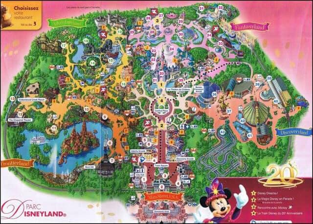 Mapa do Parque Disneyland em Paris