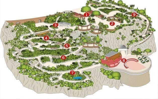 Mapa do Jardim Exotique em Mônaco