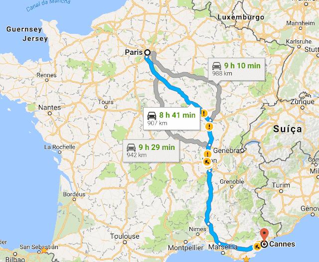 Trajetos da viagem de carro de Paris e Cannes