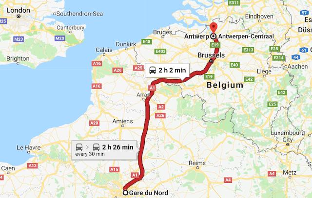 Mapa viagem de trem de Paris a Antuérpia