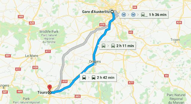 Mapa viagem de trem de Paris a Tours