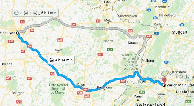 Mapa viagem de trem de Paris a Zurique