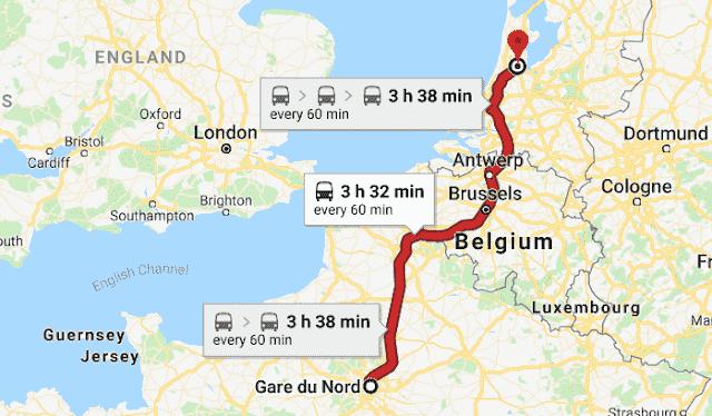 Mapa viagem de trem de Paris a Amsterdã
