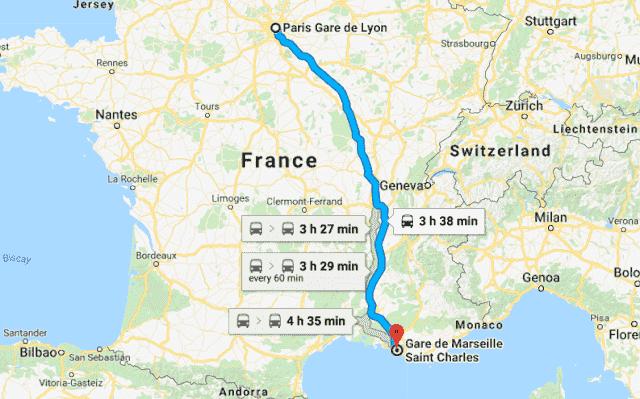 Mapa viagem de trem de Paris a Marselha