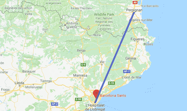 Mapa viagem de trem de Perpignan a Barcelona