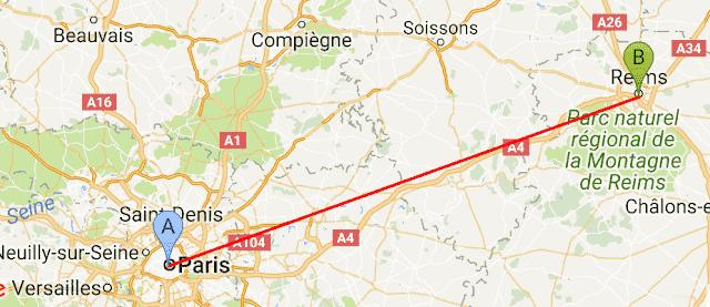 Mapa viagem de trem de Reims a Paris