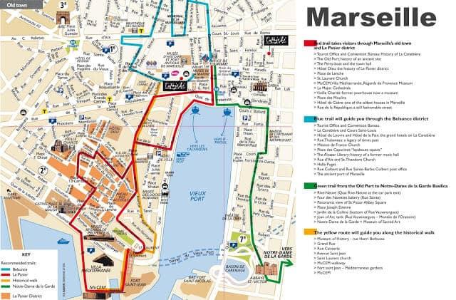 Mapa turístico de Marselha