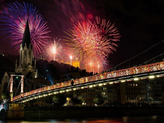 Vista do Ano Novo em Lyon