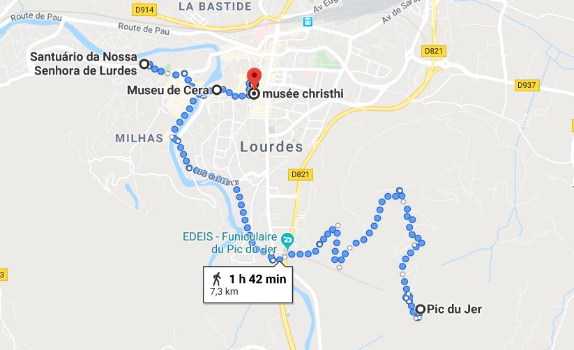Mapa do roteiro de um dia em Lourdes