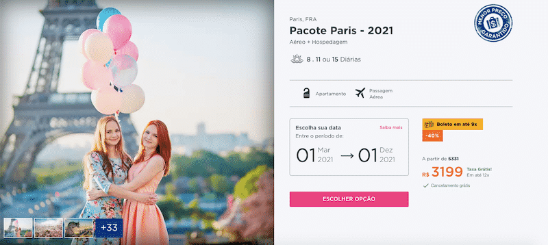 Pacote Hurb para Paris