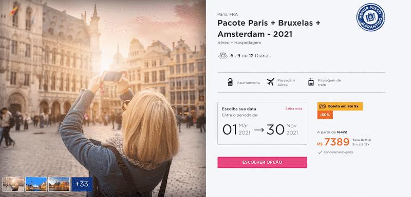 Pacote Hurb para Paris, Bruxelas e Amsterdam