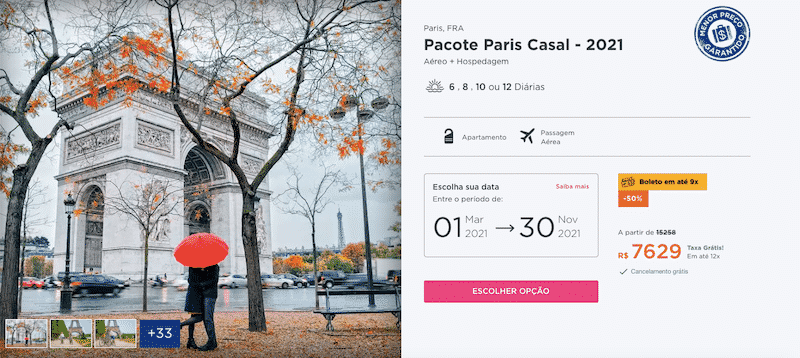 Pacote Hurb para Paris - Casal