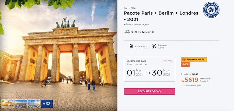 Pacote Hurb para Paris, Berlim e Londres