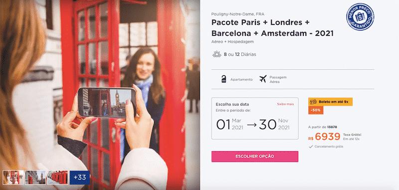 Pacote Hurb para Paris, Londres, Barcelona e Amsterdam