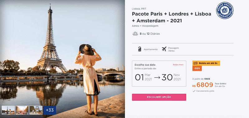 Pacote Hurb para Paris, Londres, Lisboa e Amsterdam