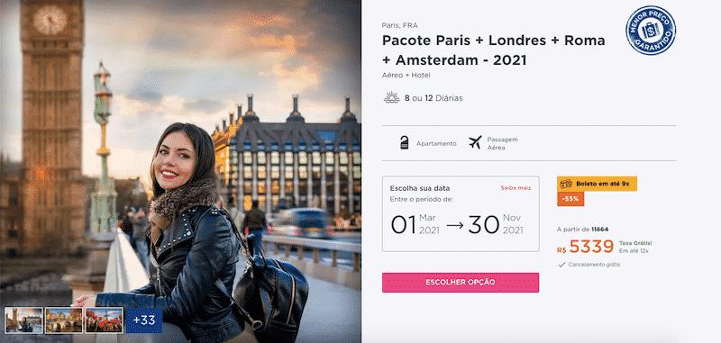 Pacote Hurb para Paris, Londres, Roma e Amsterdam