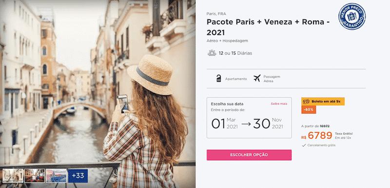 Pacote Hurb para Paris, Veneza e Roma