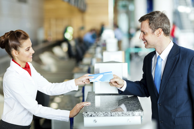 Guichê da companhia aérea no aeroporto